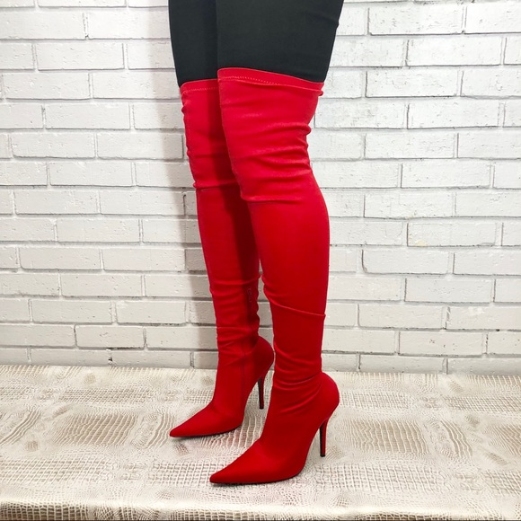 4840ba2b348c Public Desire Shoes | Refuge Red Over The Knee Boots | Poshmark